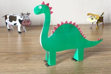 Kostenlose Schablone für Dinosaurier</br> aus Papier