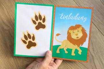Einladungskarte zum Kindergeburtstag</br>mit wildem Löwen