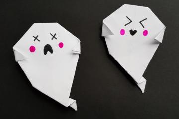Deko zu Halloween: Origami Geist falten
