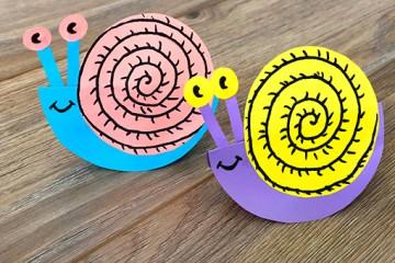 Bastelidee für Kinder –</br> bunte Schnecke aus Papier