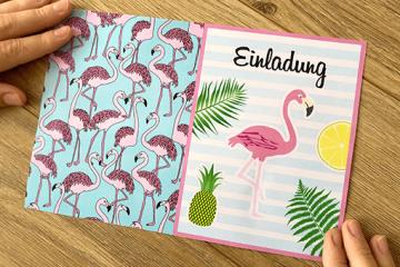 Einladung zur Flamingo-Party</br> kostenlos ausdrucken