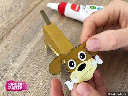 Einfache Bastelidee für Kindergarten - Hund aus Papier