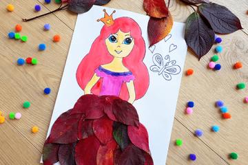 Kreative Bastelidee für Mädchen: Prinzessin aus Blättern