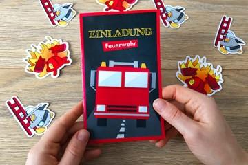 Einladungskarte zum Feuerwehr-Kindergeburtstag selbst basteln