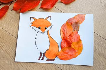 Herbstlicher Fuchs mit Blättern basteln
