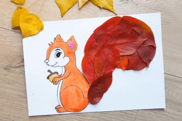 Bastelvorlage für Eichhörnchen aus Herbstblättern