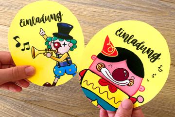 Es wird bunt: Witzige Clown-Einladung</br> für die Zirkusparty