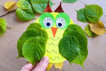 DIY Herbstdeko – Eulen aus bunten Blättern