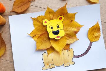 Herbstlicher Löwe mit Laub basteln:</BR> Anleitung für Kinder