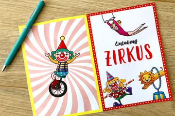 """Süße Einladungen zum Geburtstag</br> """"Zirkus"""" selbst basteln"""