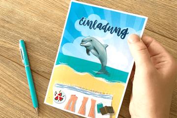 Einladungskarte für Delfinspaß</br> kostenlos herunterladen