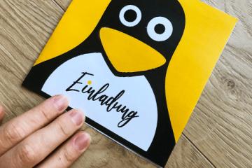 Druckbare Einladungen</br> für Pinguin-Party