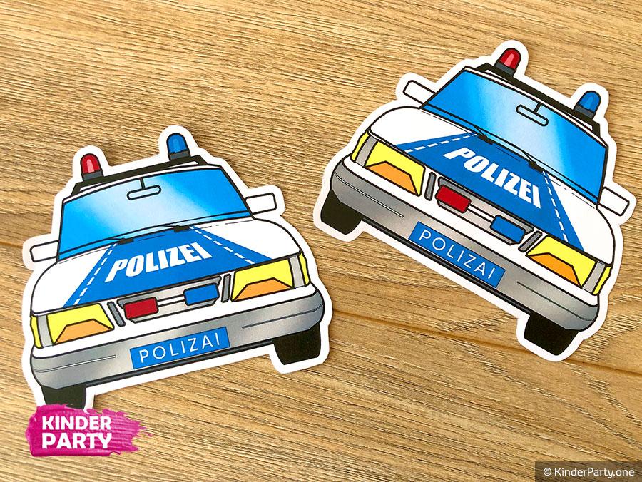 Einladungen zum Kindergeburtstag im Polizei Design