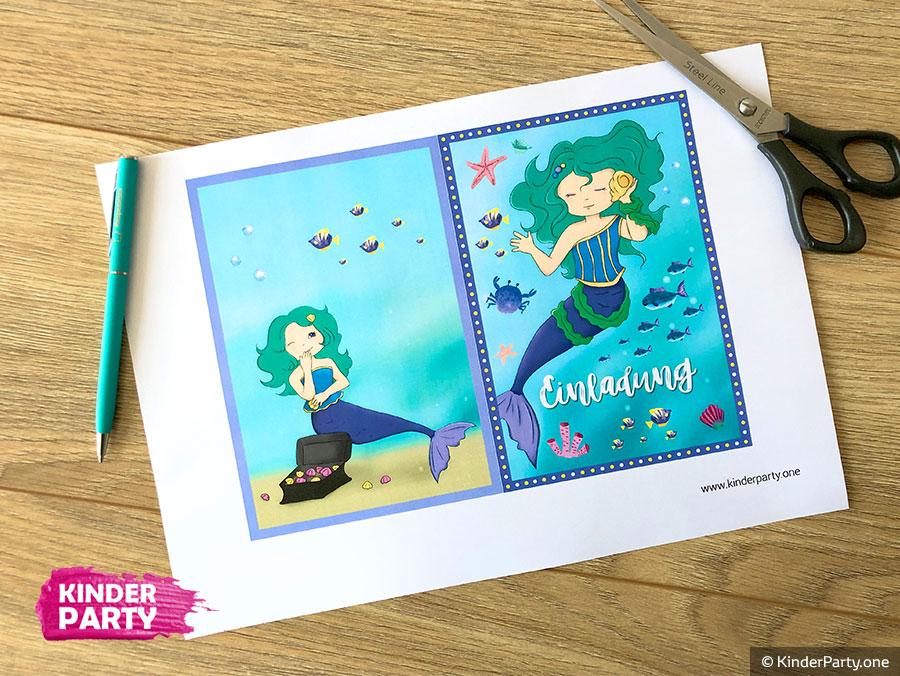 Bastelvorlage für Meerjungfrau Einladung zum Ausdrucken