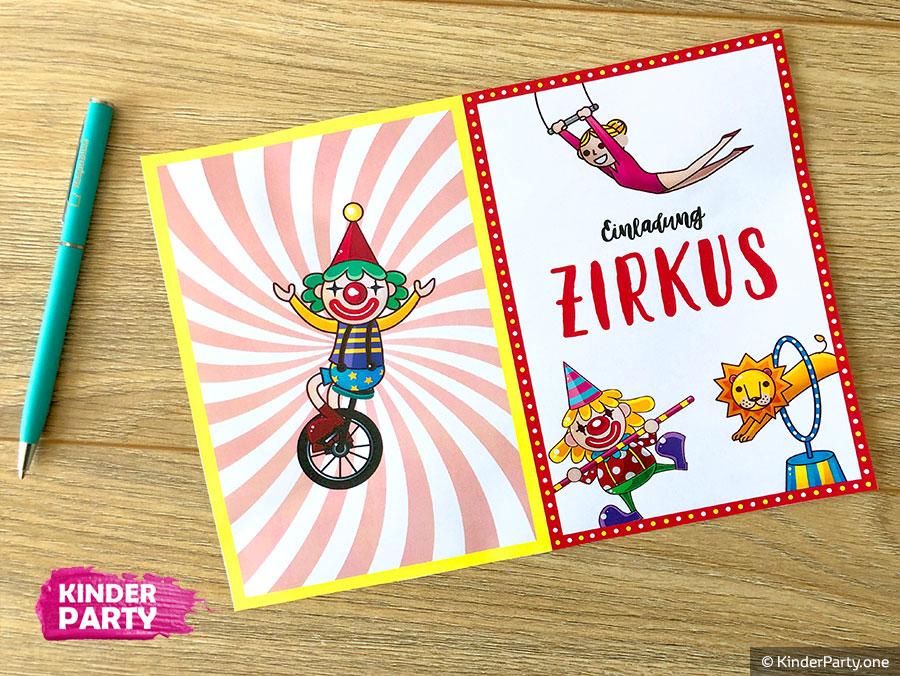 PDF-Einladung für Zirkusparty zum Kindergeburtstag