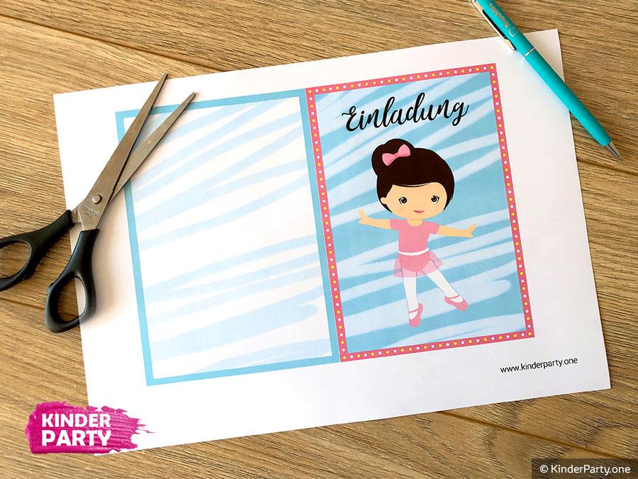 Vorlage für Ballerina Party downloaden