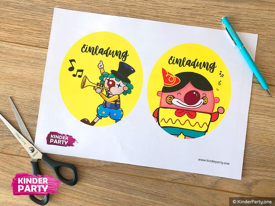 kostenlose Schablone für Bilder mit Clown