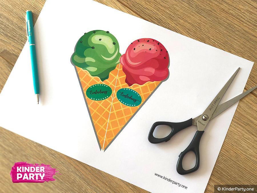 Einladungskarte für Eisceme-Party