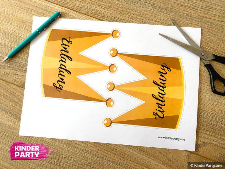 Einladungskarte Krone basteln: Vorlage zum Ausdrucken