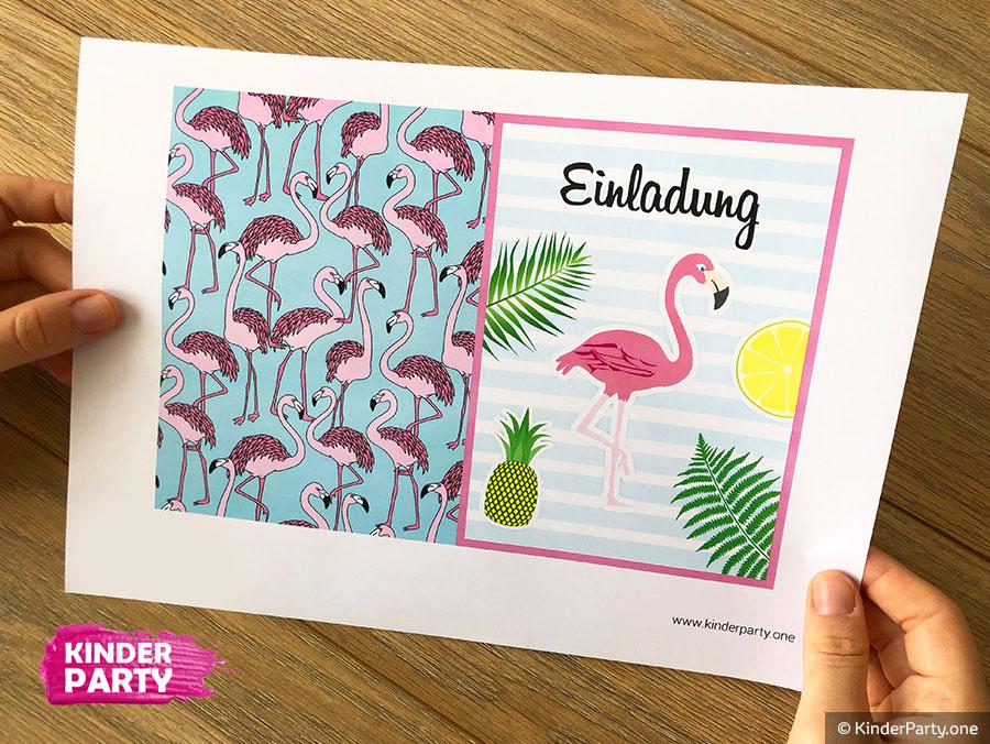 Einladungskarte mit Flamingo für Beach Party