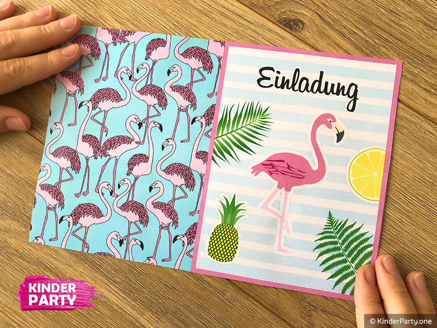 DIY Klappkarte mit Flamingo Vogel