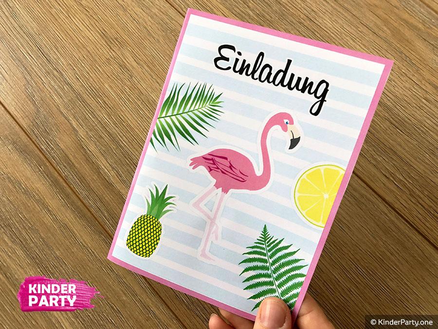 Geburtstagskarte mit Flamingo zum Ausdrucken