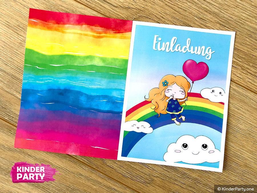 DIY ♥ Einladungskarte mit Regenbogen und Wolken