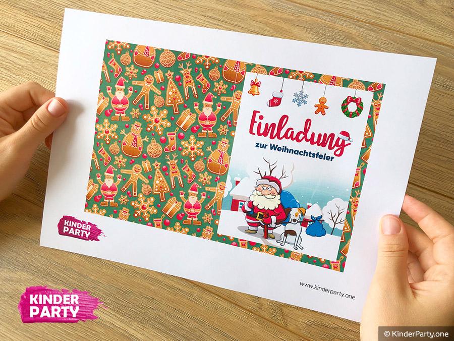 Druckbare Vorlage für Weihnachtskarte