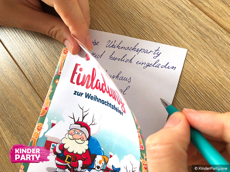 Einladungskarte mit Weihnachtsmann