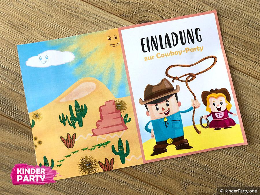 DIY Einladungskarte zum Cowboy Kindergeburtstag