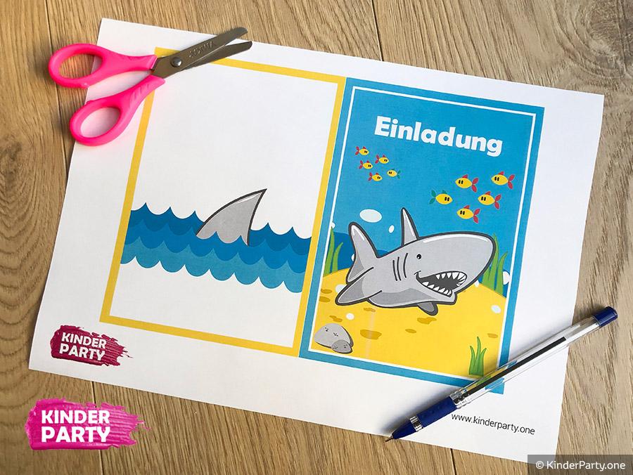 Schablone mit Hai zum Ausdrucken