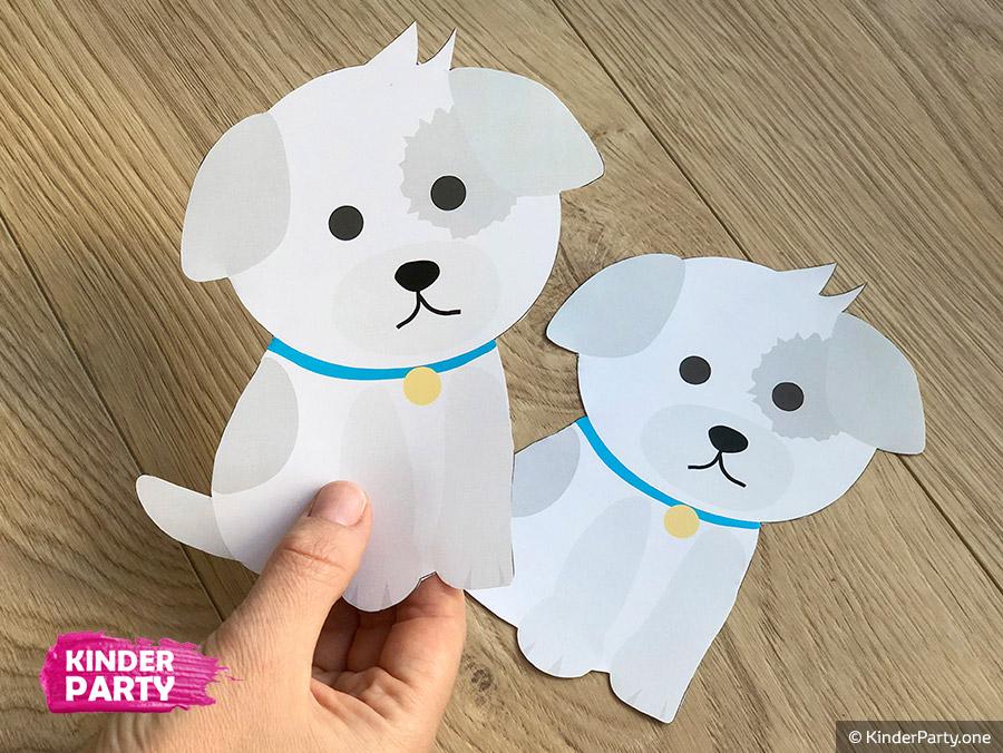 wir basteln Einladungskarte mit Hund