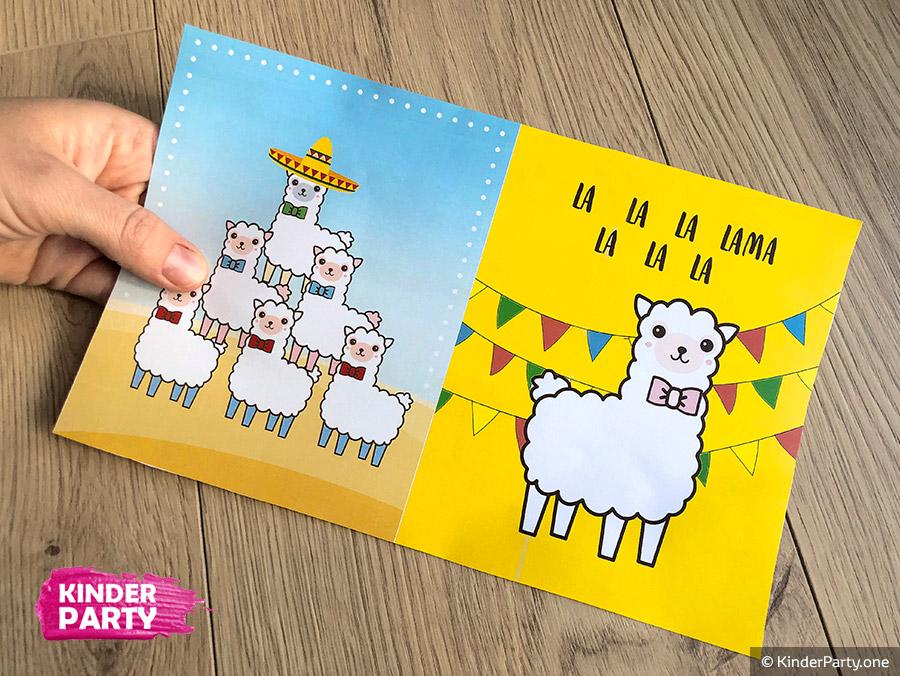 DIY Lama Einladungskarte zum Ausdrucken