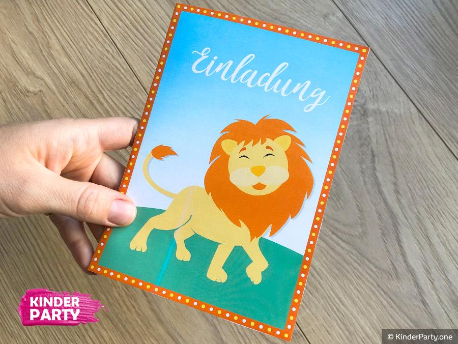 Einladung zur Party mit Löwe und Dschungel