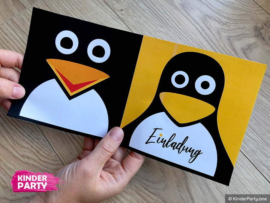 Klappkarte mit Pinguin zum Ausdrucken