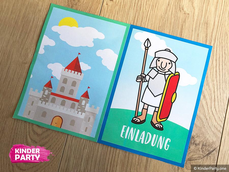 Einladung für Kindergeburtstag Ritter und Prinzessin