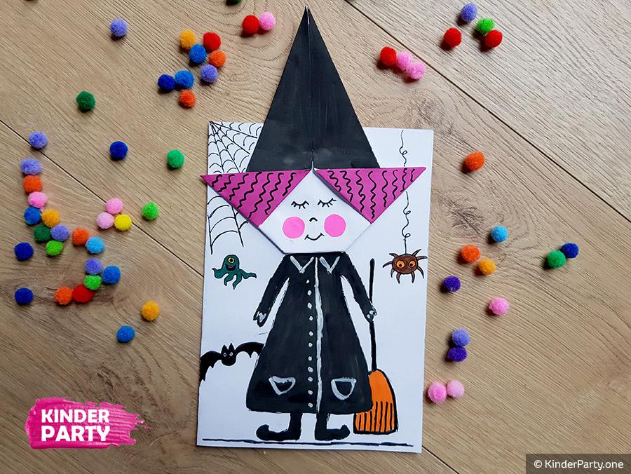 Origami Hexe für Gruselparty